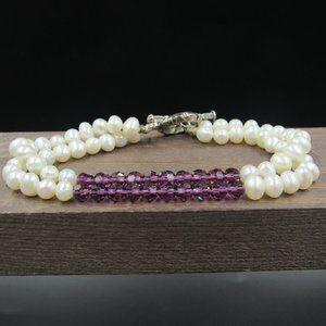 """7"""" Sterling Purple Crystal & String Pearl Bracelet"""